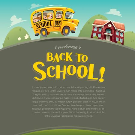 Back to School! Wide copy space for text. Back to school poster.