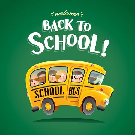Back to School! Back to school bus with kids.