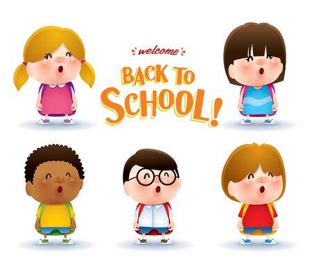 Cute school kids. A variety of adorable kids for back to school design. Ilustração