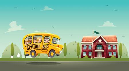 Back to School! Wide copy space for text. Horizontal back to school poster. Ilustração