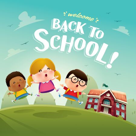 Welcome back to school! Cute school kids. A variety of adorable kids for back to school design. Ilustração