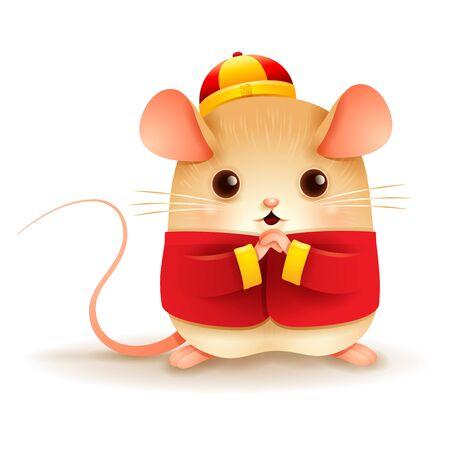 Il ratto saluta Gong Xi Gong Xi. Capodanno cinese. Anno del ratto. Vettoriali