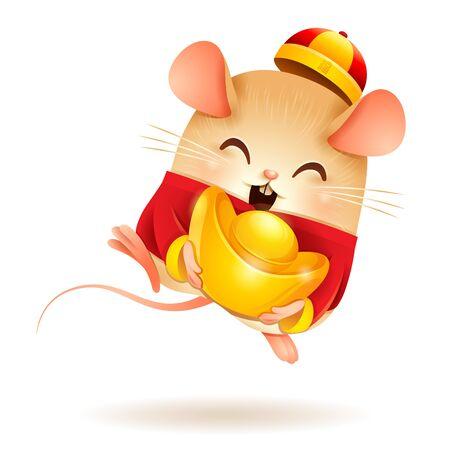 La pequeña rata con oro chino - Lingote. Año Nuevo Chino. Año de la rata.