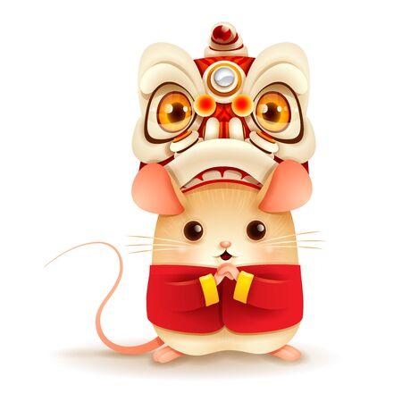 Mały szczurek z głową tańca chińskiego lwa. Chiński Nowy Rok. Rok szczura. Ilustracje wektorowe