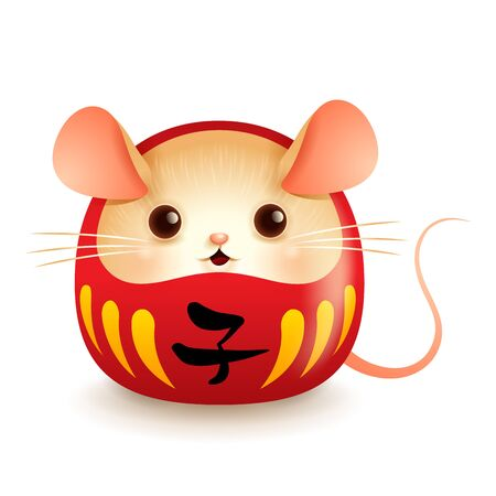 Japanese Daruma doll with rat face. Translation: year of the rat.