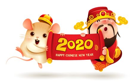 Chinese God of Wealth and Little Rat holding a scroll. Chinese New Year. The year of the rat.
