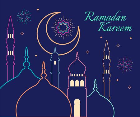 Linear art of Arabic geometric art. Islamic mosque and crescent moon. Ramadan Kareem - Glorious month of Muslim year.