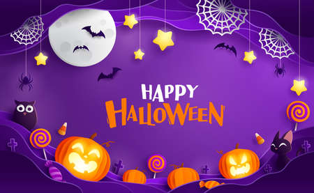 Paper Graphic of Happy Halloween fun party celebration background design. Halloween elements. Ilustração