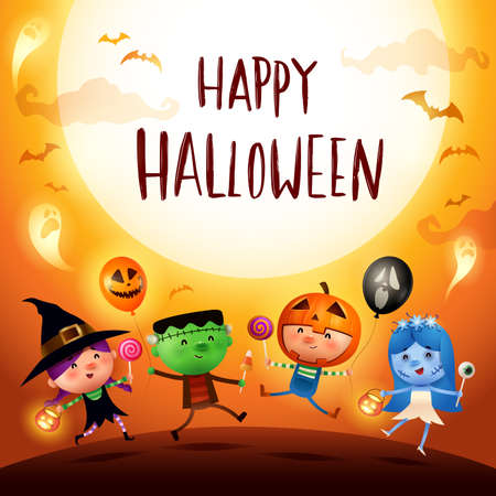 Happy Halloween! Halloween Kids Costume Party. Group of kids in Halloween costume. Çizim