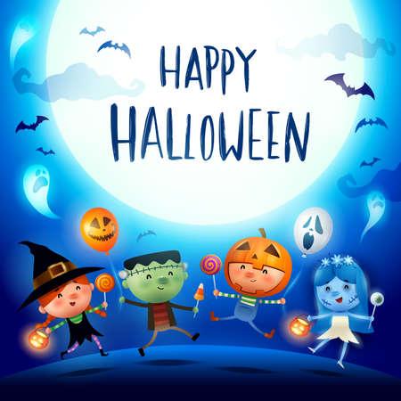 Happy Halloween! Halloween Kids Costume Party. Group of kids in Halloween costume. Stock Illustratie