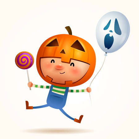 Halloween little pumpkin boy. Boy kid in Halloween costume. Isolated.