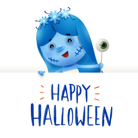 Corpse Bride with big signboard. Happy Halloween calligraphy lettering design. Creative typography for holiday season greeting.