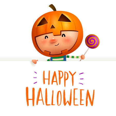 Pumpkin Kid with big signboard. Happy Halloween calligraphy lettering design. Creative typography for holiday season greeting.