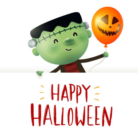 Little Green Monster with big signboard. Happy Halloween calligraphy lettering design. Creative typography for holiday season greeting.