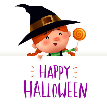 Little Witch with big signboard. Happy Halloween calligraphy lettering design. Creative typography for holiday season greeting.