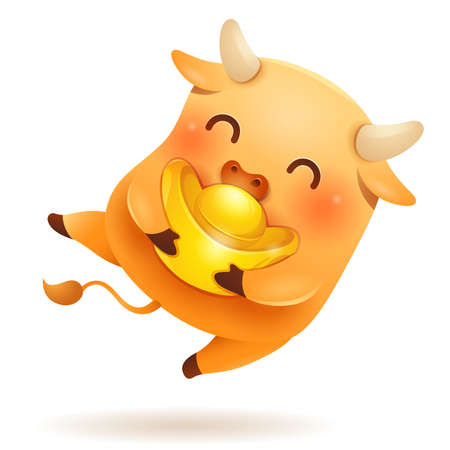 Cute little Ox with Chinese gold - Ingot. Chinese New Year. Year of the Ox. Chinese zodiac: Ox - the symbol of the year 2021 on the Chinese calendar. Stock Illustratie