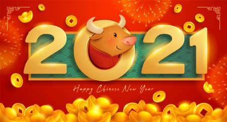 Happy Chinese New Year 2021 celebration design.