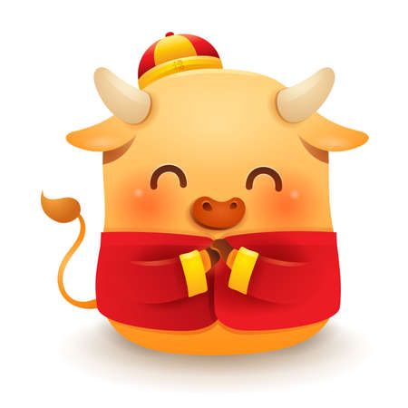 Cute little Ox with traditional Chinese costume greeting Stock Illustratie