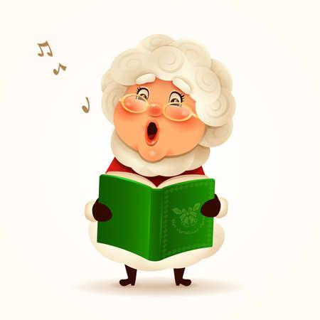 Mrs.Claus singing Christmas carol. Isolated. Stock Illustratie