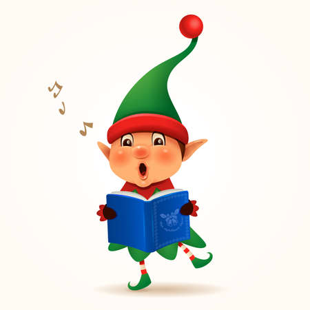 Little Elf singing Christmas carol. Isolated.