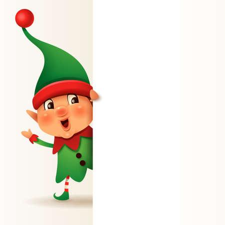 Little Elf with big blank signboard. Wide empty space for design. Stock Illustratie