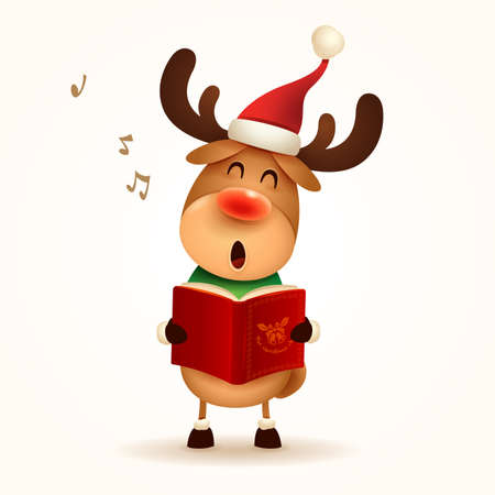 The Red-nosed Reindeer singing Christmas carol. Isolated.