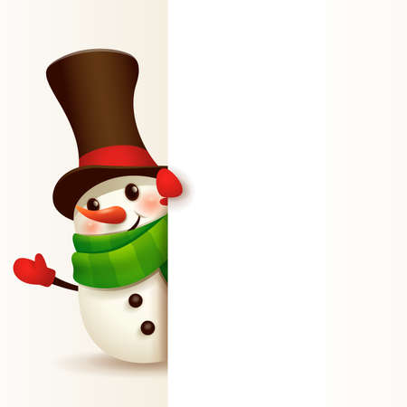 Cheerful Snowman with big blank signboard.Wide empty space for design.