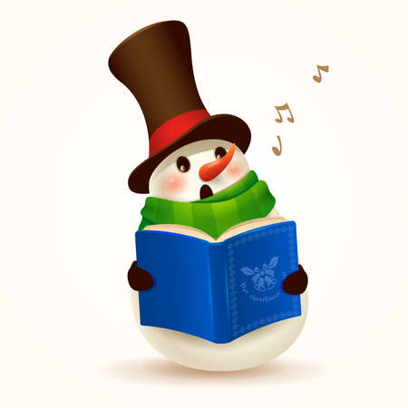 Cheerful Snowman singing Christmas carol. Isolated. Stock Illustratie