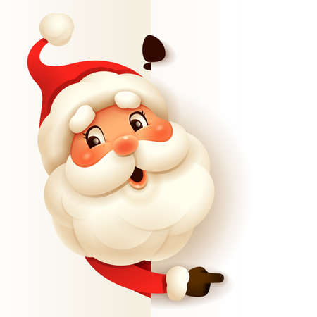 Santa Claus with big blank signboard. Wide empty space for design.