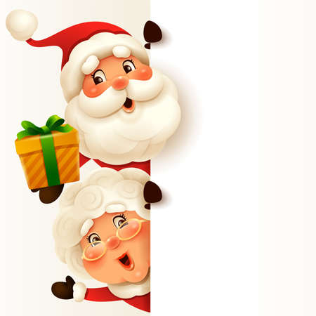 Santa Claus and Mrs.Claus with big blank signboard. Wide empty space for design.