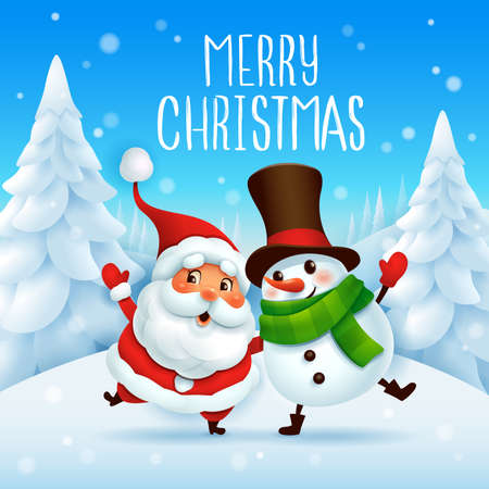 Merry Christmas! Santa Claus and Cheerful Snowman arm over shoulder. Vector illustration of Christmas character on snow scene. Stock Illustratie