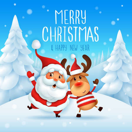 Merry Christmas! Santa Claus and Reindeer arm over shoulder. Vector illustration of Christmas character on snow scene.