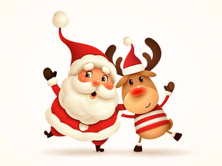Santa Claus and Reindeer arm over shoulder. Vector illustration of Christmas character on plain background. Isolated.