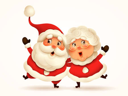 Santa Claus and his wife Mrs Claus arm over shoulder. Vector illustration of Christmas character on plain background. Isolated.