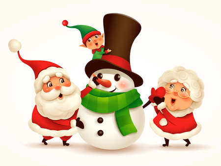 Santa Claus and Mrs Claus building snowman. Vector illustration of Christmas character on plain background. Isolated.