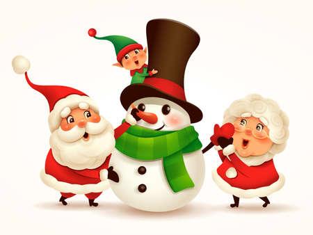 Santa Claus and Mrs Claus building snowman. Vector illustration of Christmas character on plain background. Isolated. Vektoros illusztráció