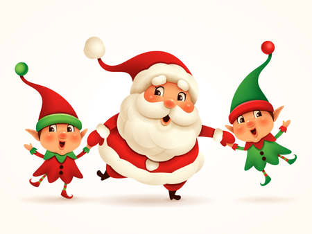 Santa Claus and Little Elves holding hands. Vector illustration of Christmas character on plain background. Isolated. Stock Illustratie