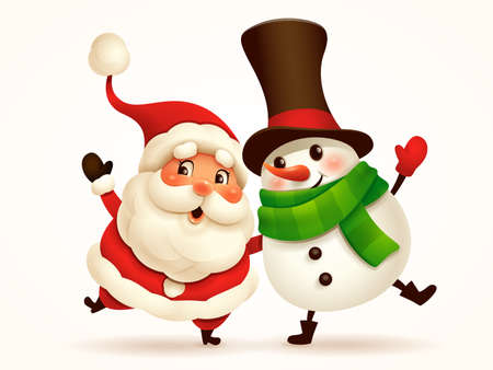 Santa Claus and Cheerful Snowman arm over shoulder. Vector illustration of Christmas character on plain background. Isolated.