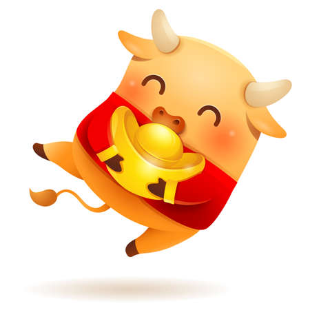 Cute little Ox wear traditional costume with Chinese gold.