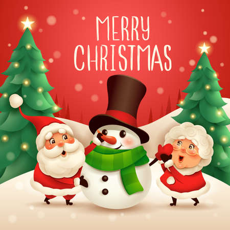 Merry Christmas! Santa Claus and Mrs Claus building snowman.Vector illustration of Christmas character on snow scene.