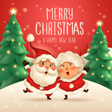 Merry Christmas! Santa Claus and his wife Mrs Claus arm over shoulder. Vector illustration of Christmas character on snow scene. Stock Illustratie