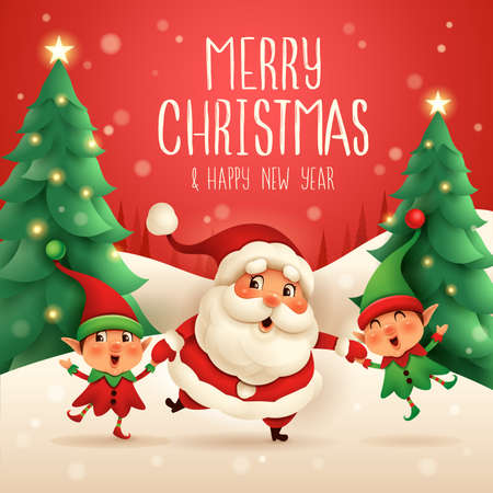 Merry Christmas! Santa Claus and Little Elves holding hands. Vector illustration of Christmas character on snow scene. Stock Illustratie