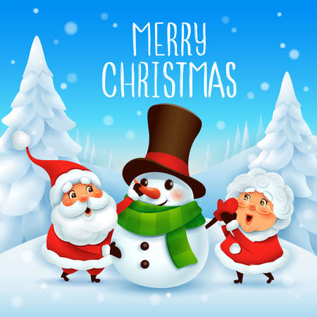 Merry Christmas! Santa Claus and Mrs Claus building snowman.Vector illustration of Christmas character on snow scene. Stock Illustratie