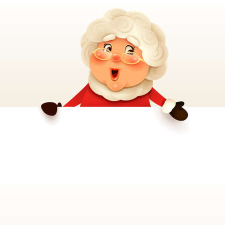 Mrs.Claus with big blank signboard. Wide empty space for design.