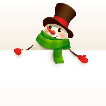 Cheerful Snowman with big blank signboard. Wide empty space for design. Stock Illustratie