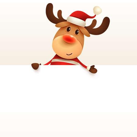 The Reindeer with big blank signboard. Wide empty space for design. Stock Illustratie