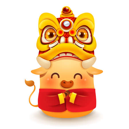 Cute little Ox with Chinese New Year Lion Dance Head. Chinese New Year. Year of the Ox. Ilustração