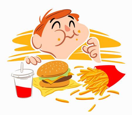 A little boy eating fast food happily Ilustração