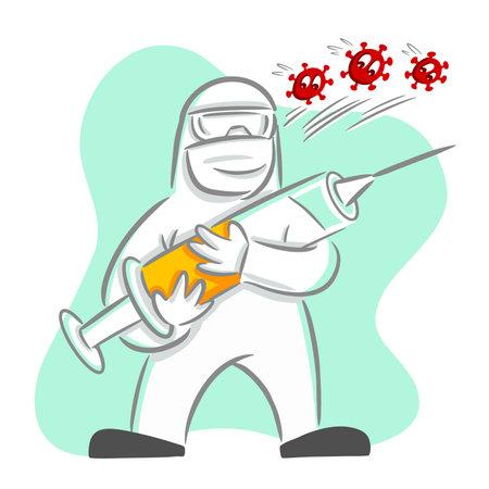 Frontline hero holding syringe with vaccine fight against virus Ilustração