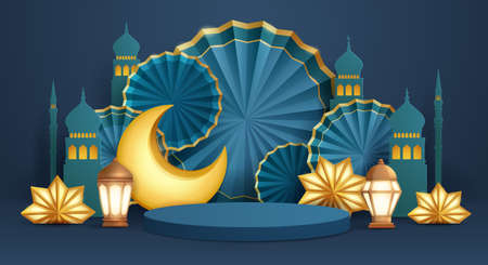 3D illustration of classic blue Muslim Islamic festival theme product display background with crescent moon and Islamic decorations. 矢量图像